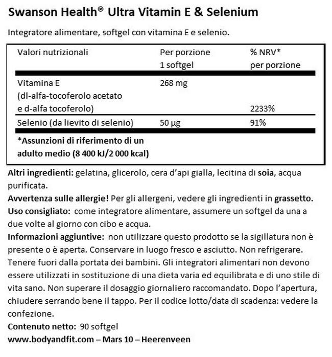 Ultra Vitamina E e Selenio Nutritional Information 1