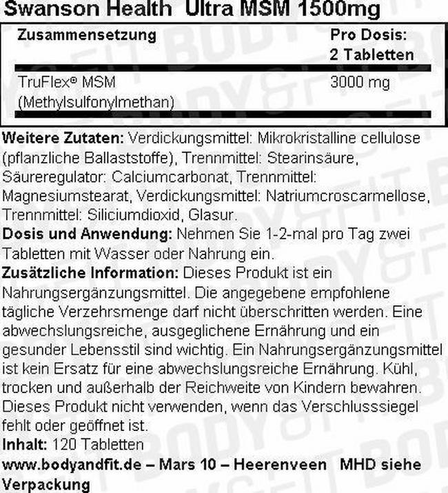 Ultra MSM 1500mg Nutritional Information 2
