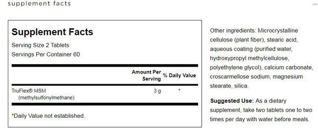Ultra MSM 1500mg Nutritional Information 3