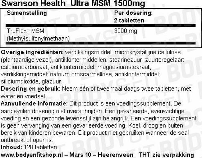 Ultra MSM 1500mg Nutritional Information 1