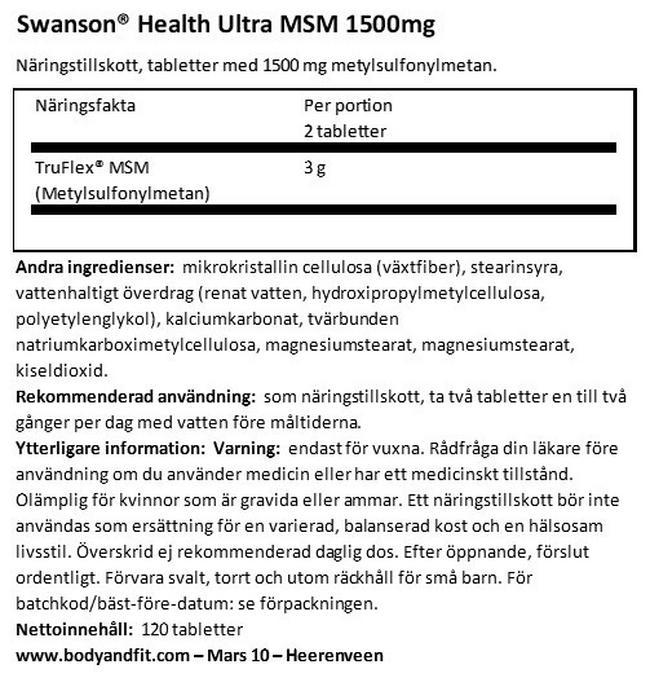 Ultra MSM 1500mg Nutritional Information 1
