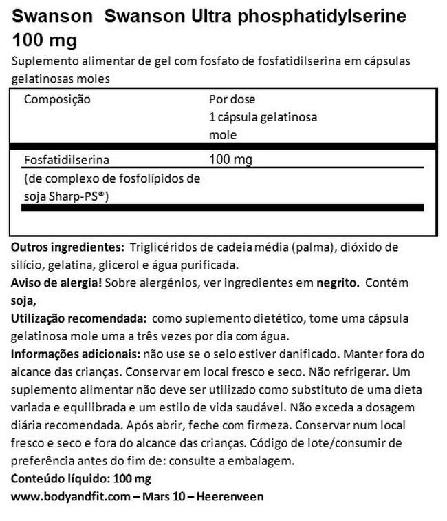 Ultra Phosphatidylserine 100mg Nutritional Information 1