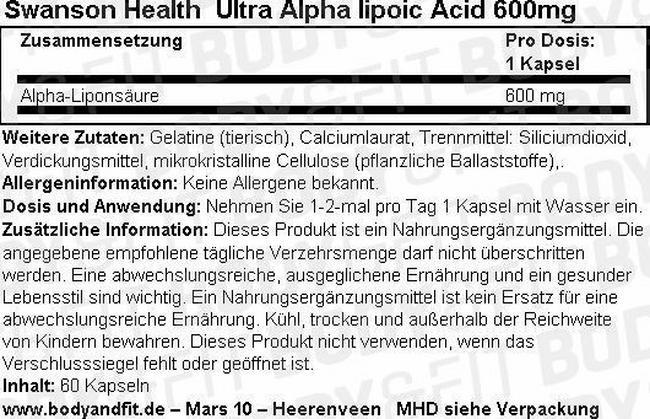 Ultra Acide alpha-lipoïque 600mg Nutritional Information 2