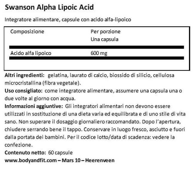 Ultra Acido Alpha Lipoico 600 mg Nutritional Information 1