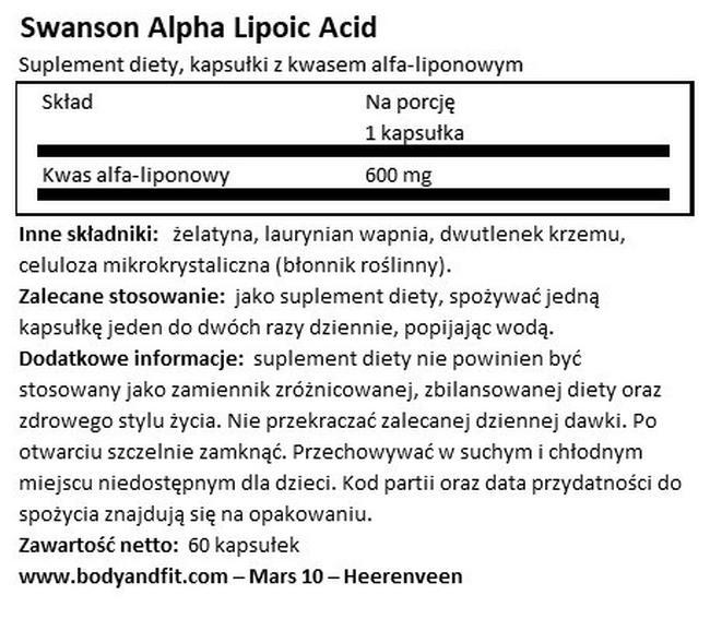 Ultra Alpha Lipoic Acid 600 mg Nutritional Information 1