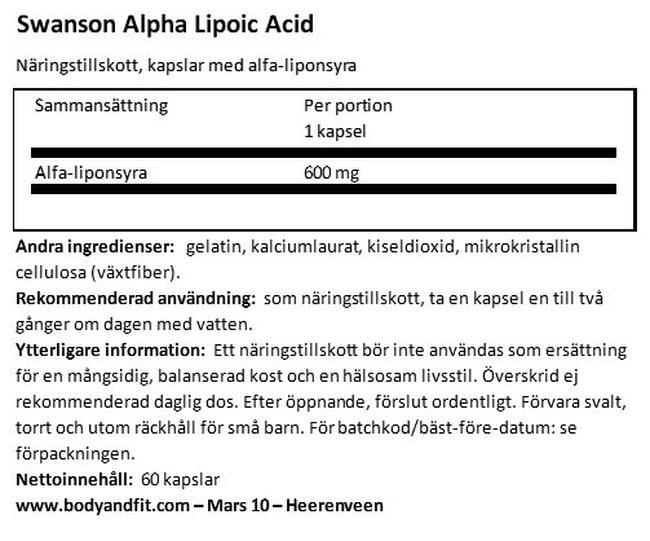 Ultra Alpha Lipoic Acid 600 mg Nutritional Information 1