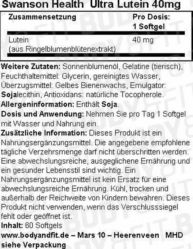 Ultra Lutein 40 mg Nutritional Information 1