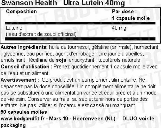 Ultra Lutein 40mg Nutritional Information 1