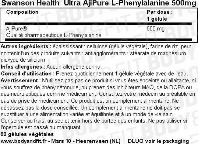 Ultra AjiPure L-Phenylalanine 500mg Nutritional Information 1
