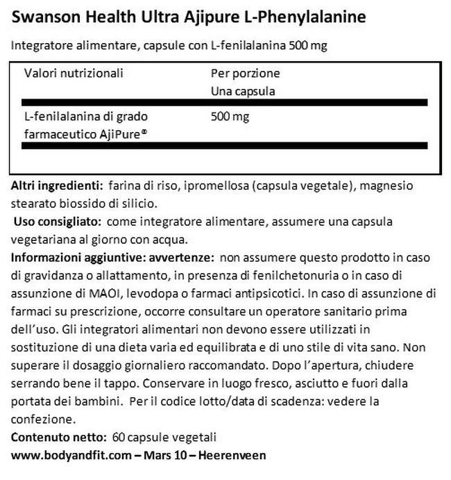 Ultra AjiPure L-Phenylalanine 500mg Nutritional Information 1