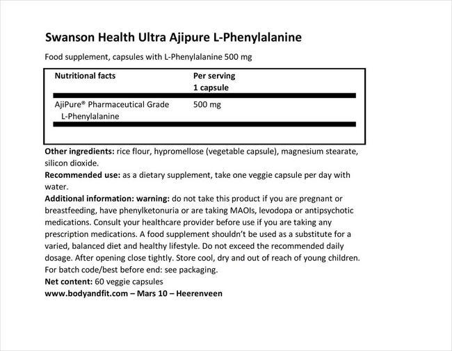 ウルトラアジピュア L-フェニルアラニン 500mg Nutritional Information 1