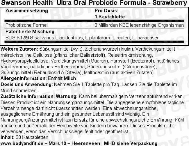 Ultra Oral Probiotic Formula Nutritional Information 1