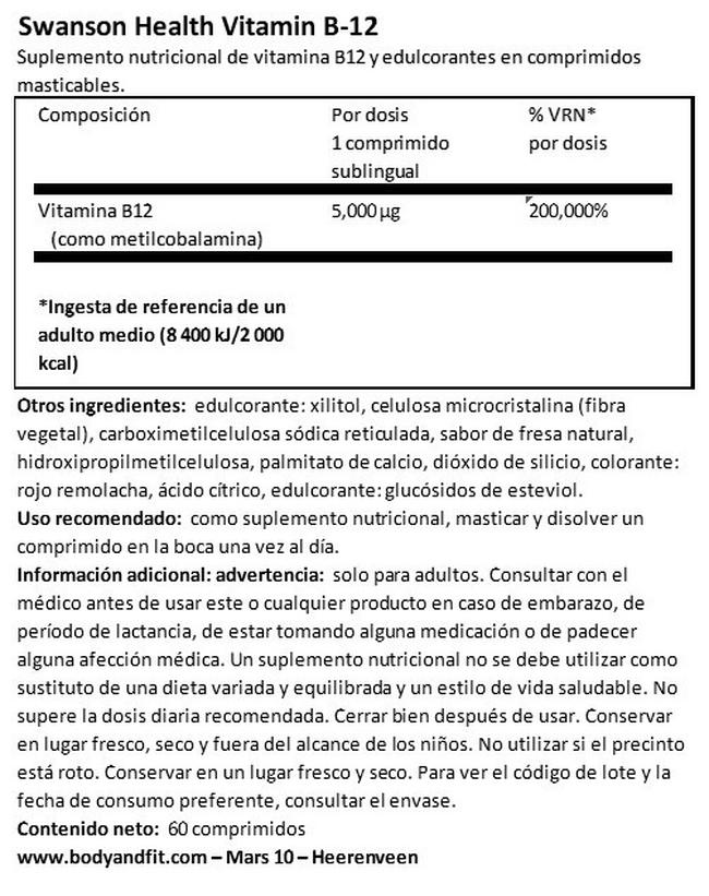 Ultra Vitamin B12 High Absorption 5 mg Nutritional Information 1