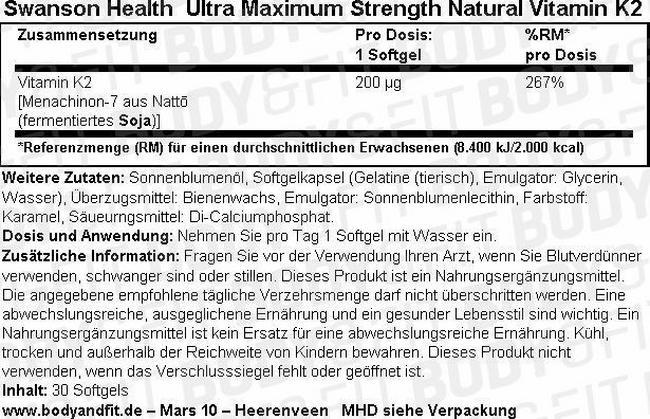 Ultra Maximum Strength Natural Vitamin K2 200 mcg Nutritional Information 1