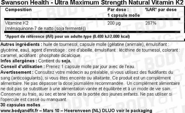 VitamineK2 naturelle ultra-puissante Ultra Max Strength Natural VitaminK2 200µg Nutritional Information 1