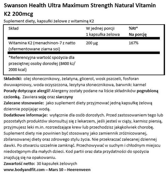 Ultra Max Strength Natural Vitamin K2 200 µg Nutritional Information 1