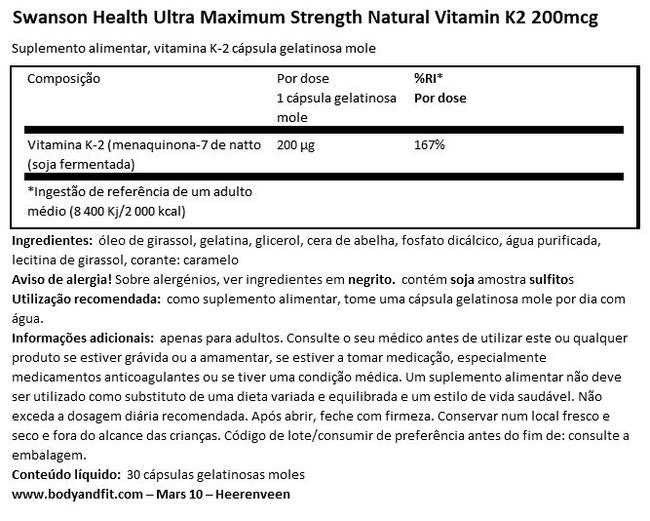 Ultra Max Strength Natural Vitamin K2 200 µg Nutritional Information 1