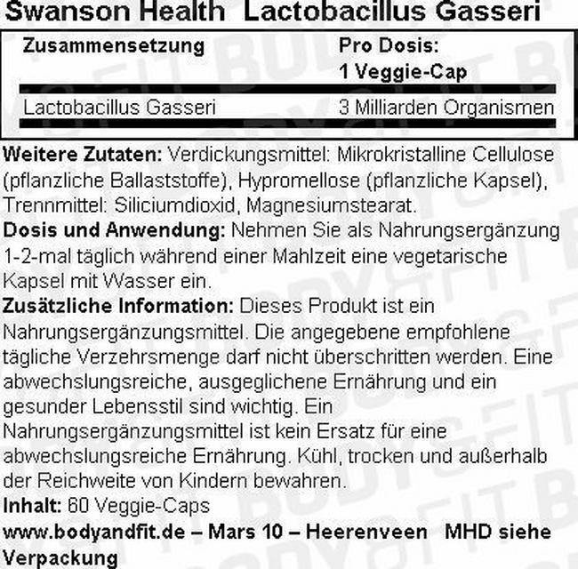 Lactobacillus Gasseri Nutritional Information 2