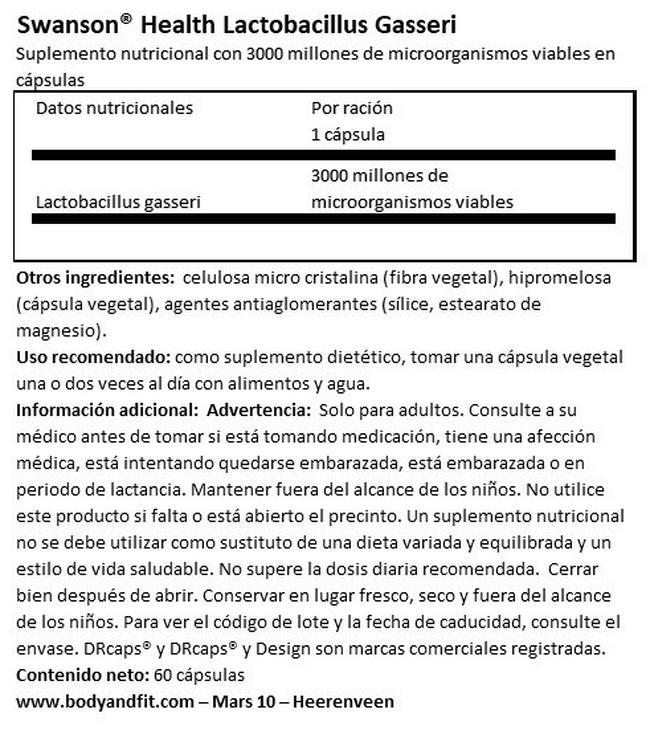 Lactobacillus Gasseri Nutritional Information 1