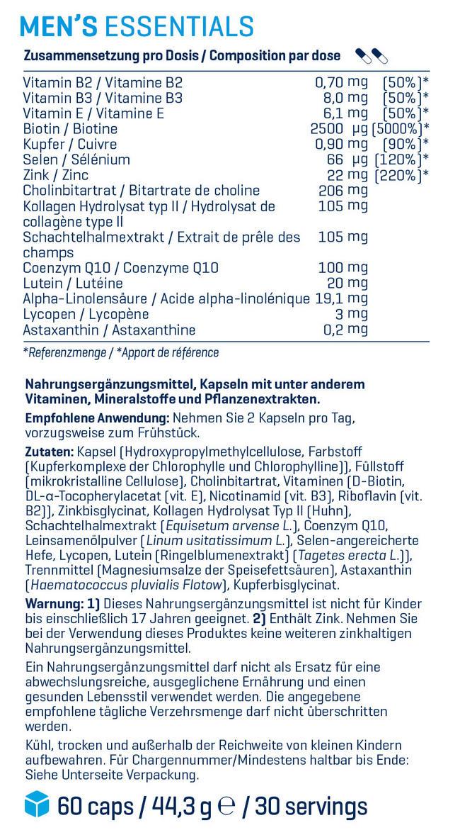 Men's Essentials Nutritional Information 1