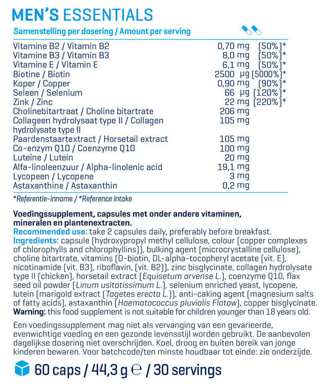 B&F Men's Essentials - 60 tabs Nutritional Information 1