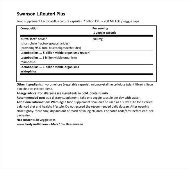 Probiotics L. Reuteri Plus Nutritional Information 1