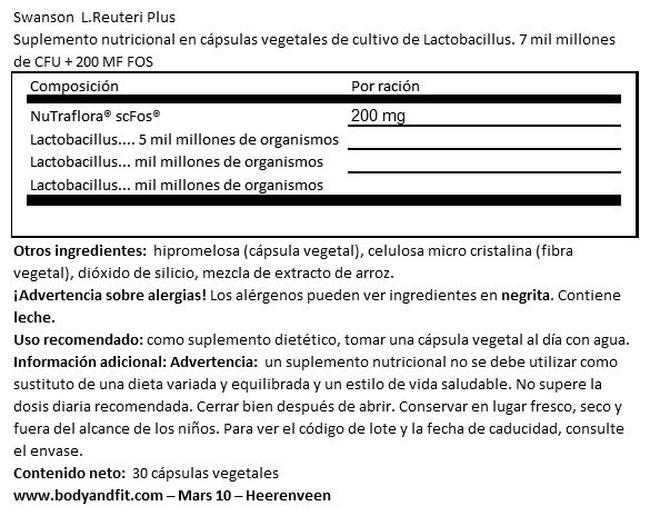Probióticos L-Reuteri Plus Nutritional Information 1