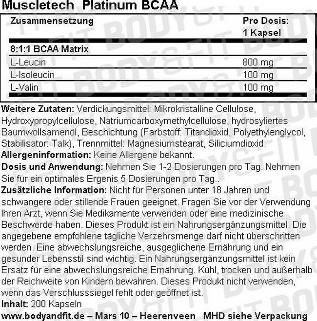 Platinum BCAA Nutritional Information 1
