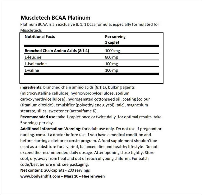 Platinum BCAA Nutritional Information 3