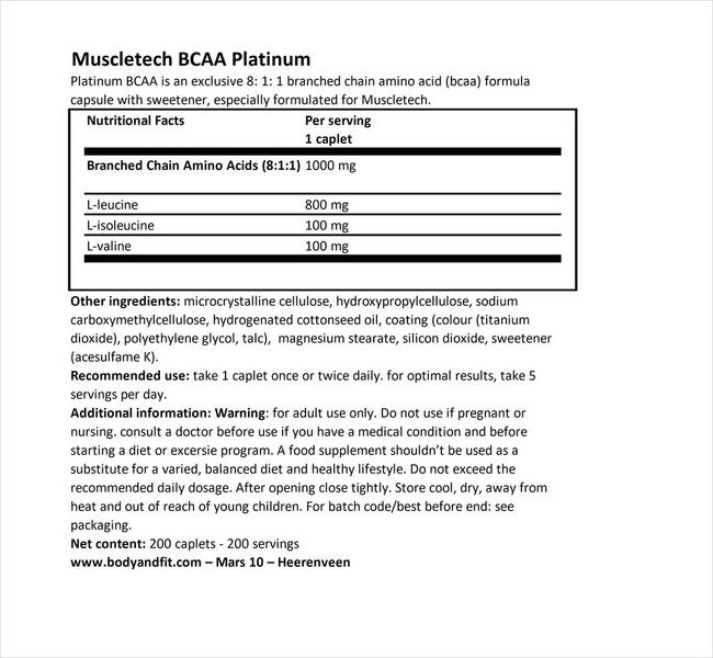 플래티넘 BCAA Nutritional Information 1