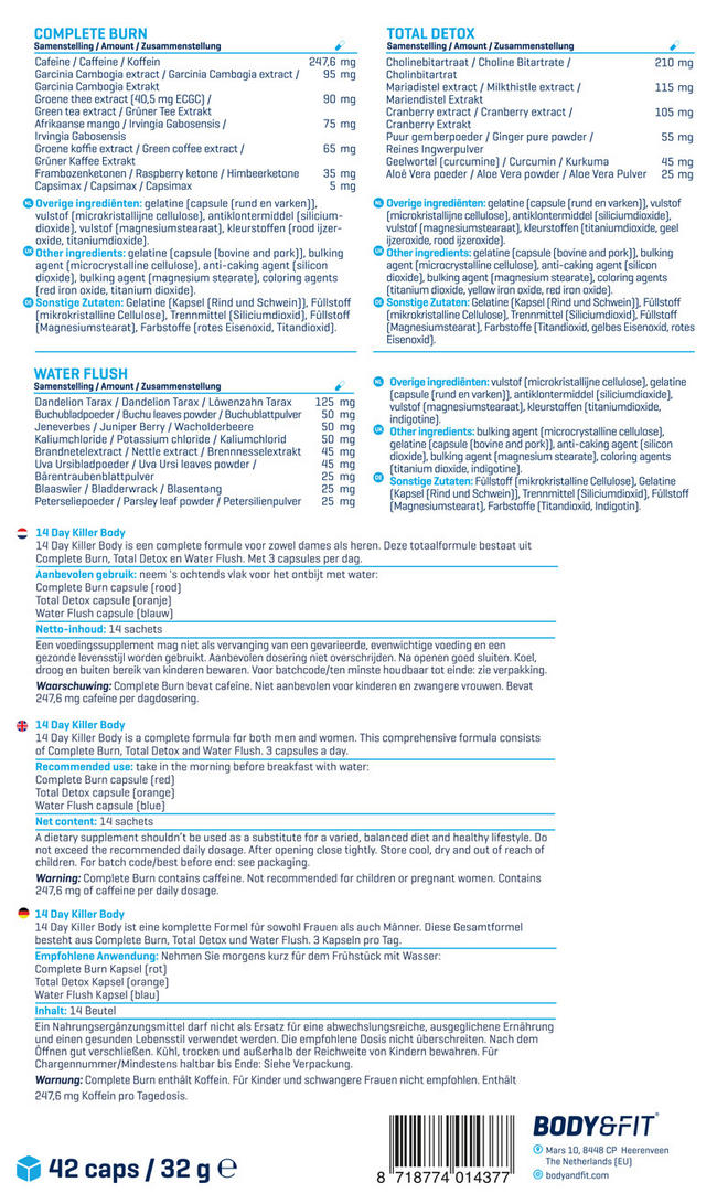 14 Day Killer Body Nutritional Information 1