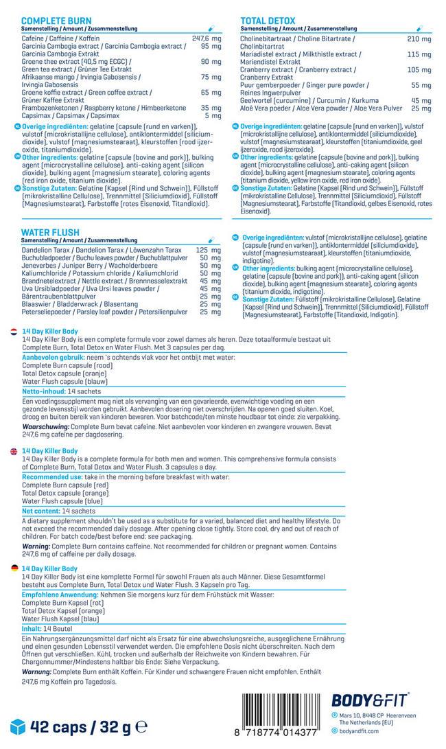 14 Day Killer Body Nutritional Information 3