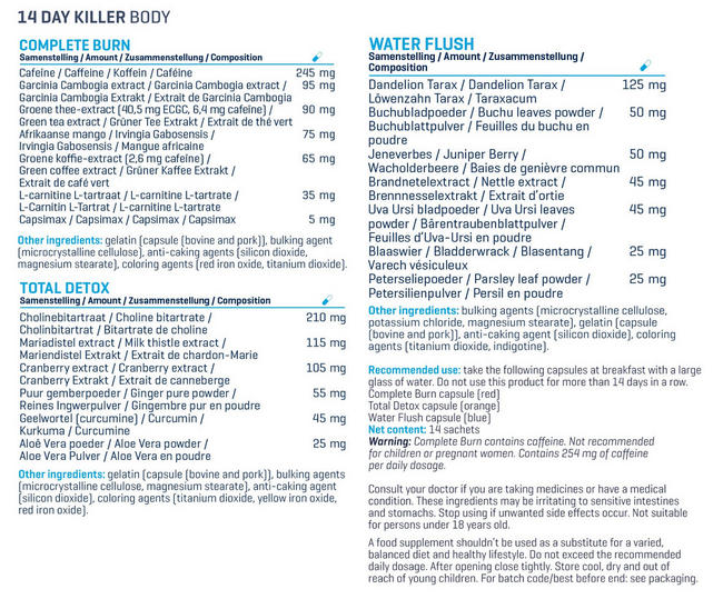 14 Day Killer Body Nutritional Information 4