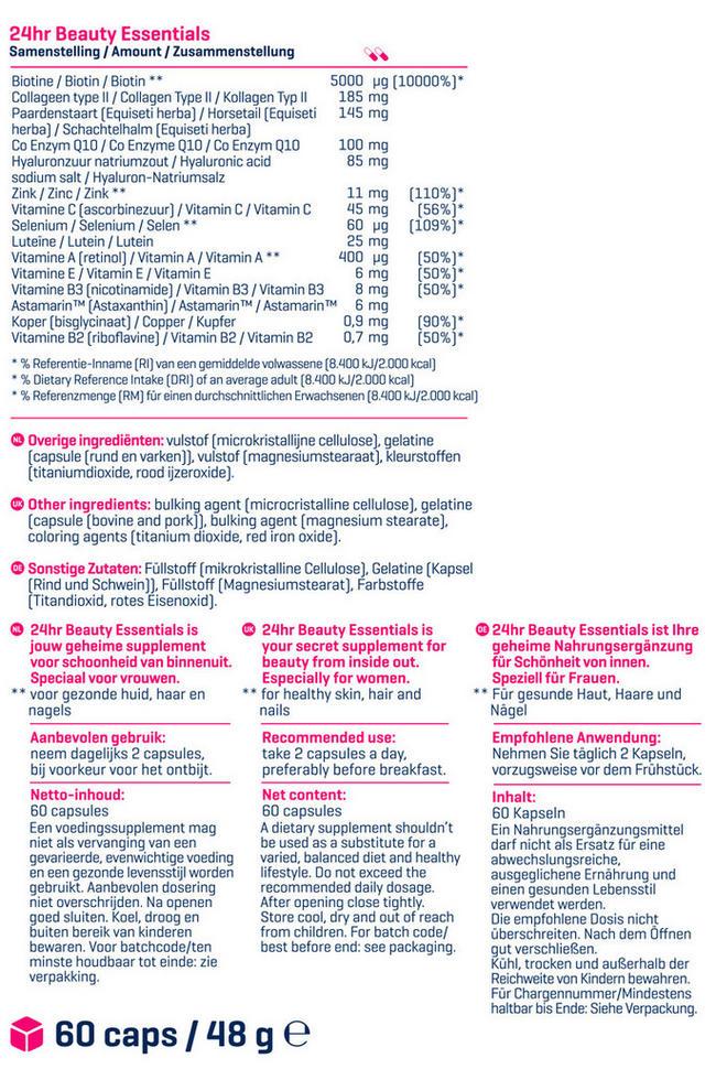 24hr Beauty Essentials Nutritional Information 2