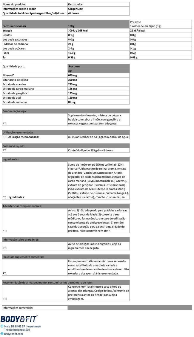 Detox Juice - 45 dagen verpakking - Ginger-Lime Nutritional Information 1