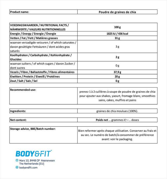 Poudre de graines de chia Nutritional Information 1