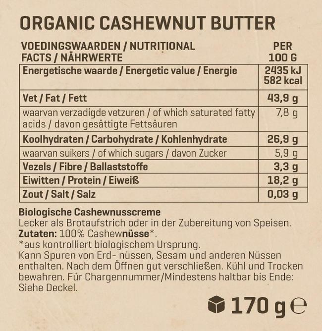Biologische Cashewbutter Nutritional Information 1