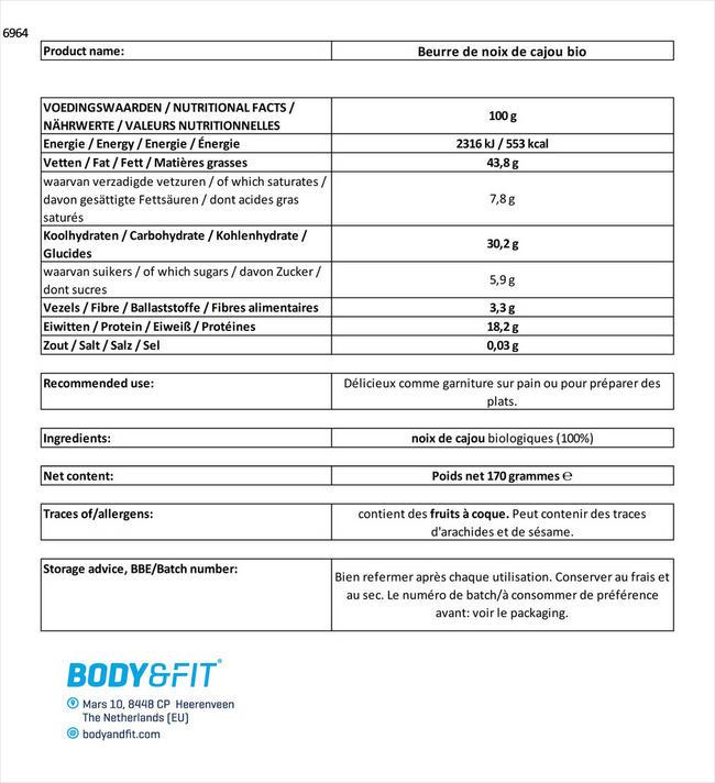 Beurre de noix de cajou bio Nutritional Information 1