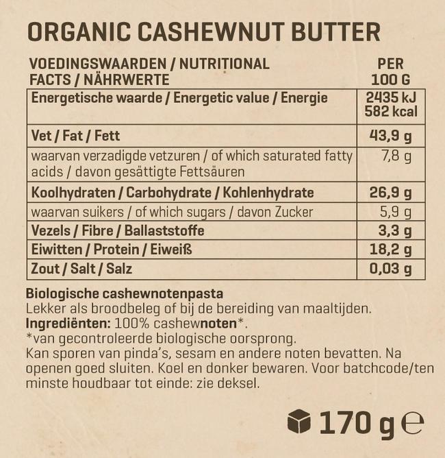 Biologische Cashewpasta Nutritional Information 1