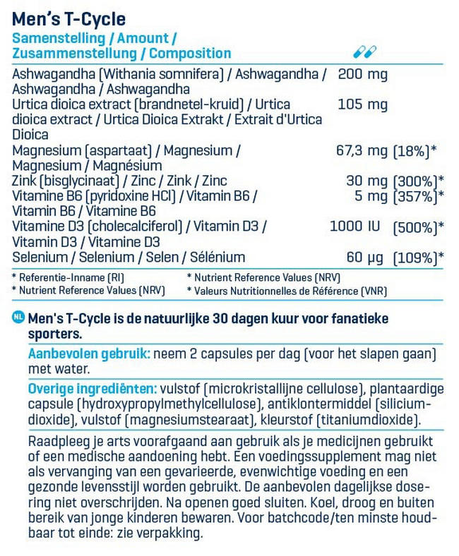 Men's T-Cycle Nutritional Information 1