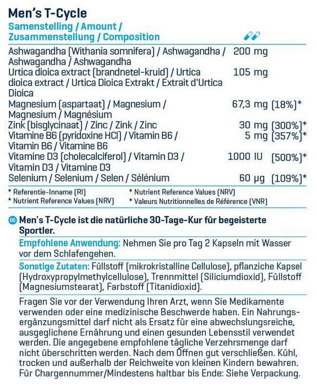 Men's T-Cycle Nutritional Information 2