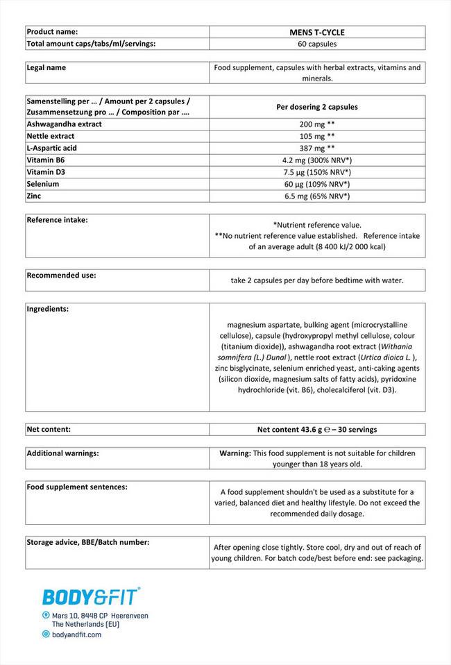 メンズ Tサイクル Nutritional Information 1