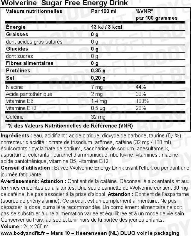 Wolverine - Sugar Free Energy drink Nutritional Information 2