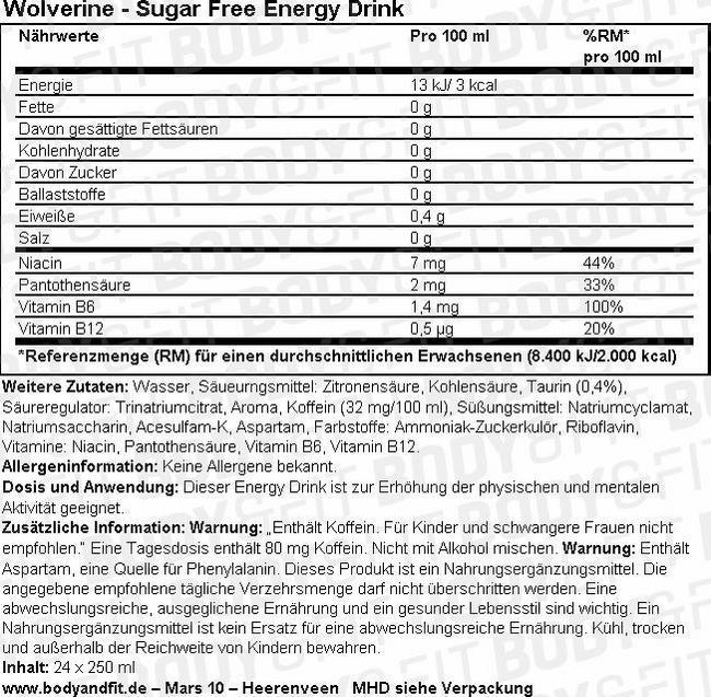 Wolverine - Sugar Free Energy drink Nutritional Information 3