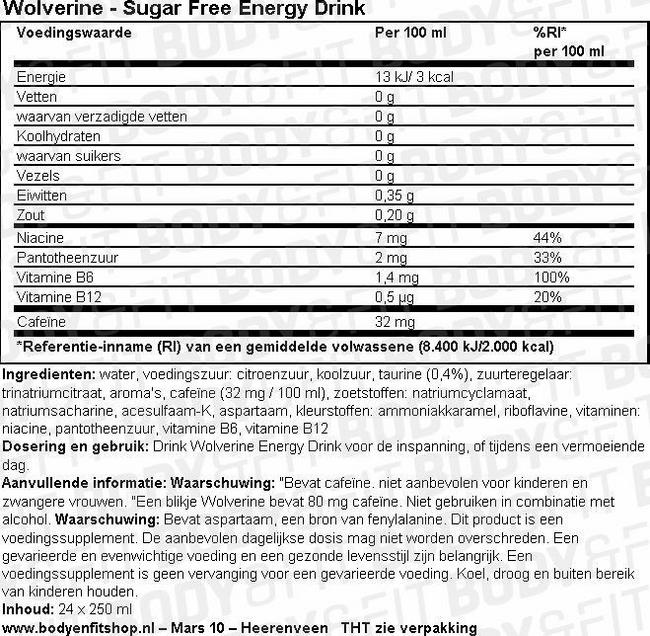 Wolverine - Sugar Free Energy drink Nutritional Information 1
