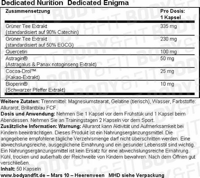 Dedicated Enigma Nutritional Information 1