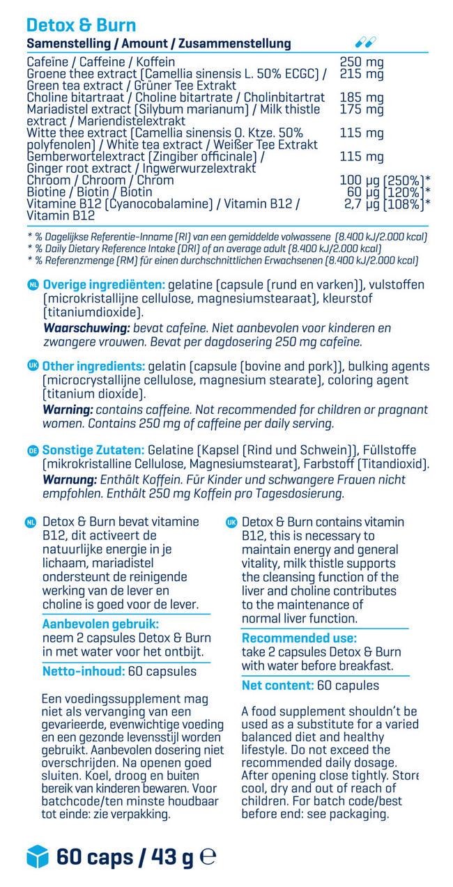 Detox & Burn Nutritional Information 2