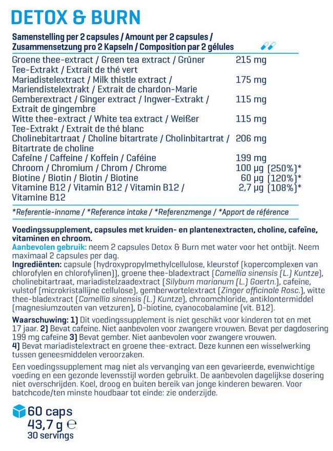 Detox & Burn Nutritional Information 1