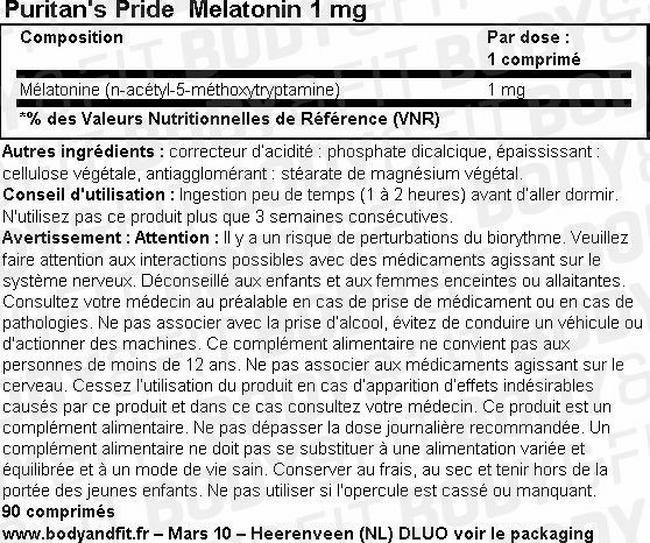 Melatonin 1 mg Nutritional Information 1