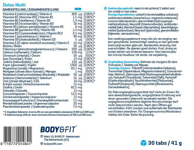 Detox Multi Nutritional Information 1